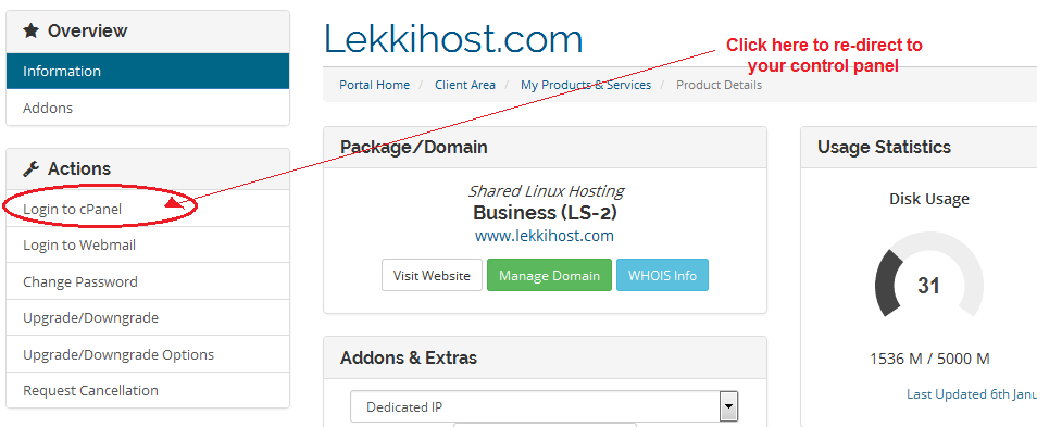 Click to re-direct to cPanel